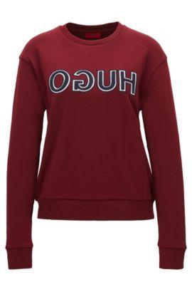 T-shirt in cotone a maniche lunghe con logo a rovescio in stile college, Rosso scuro