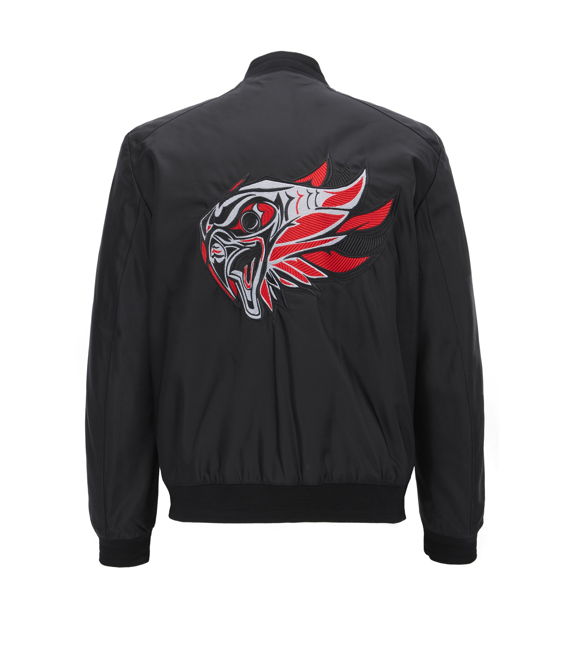 Slim-fit reversible bomber jacket with eagle embroidery, Black