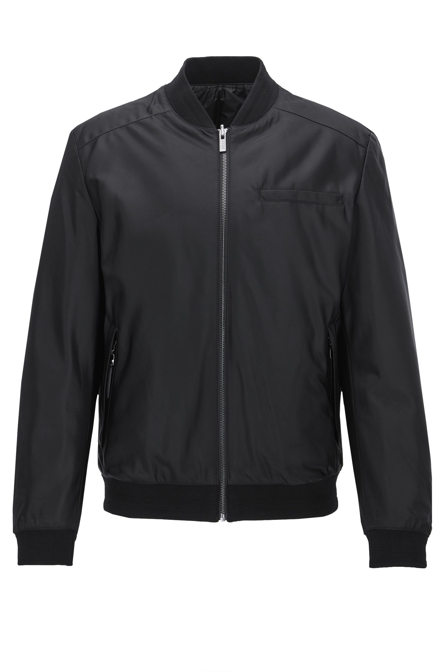 Slim-fit reversible bomber jacket with eagle embroidery