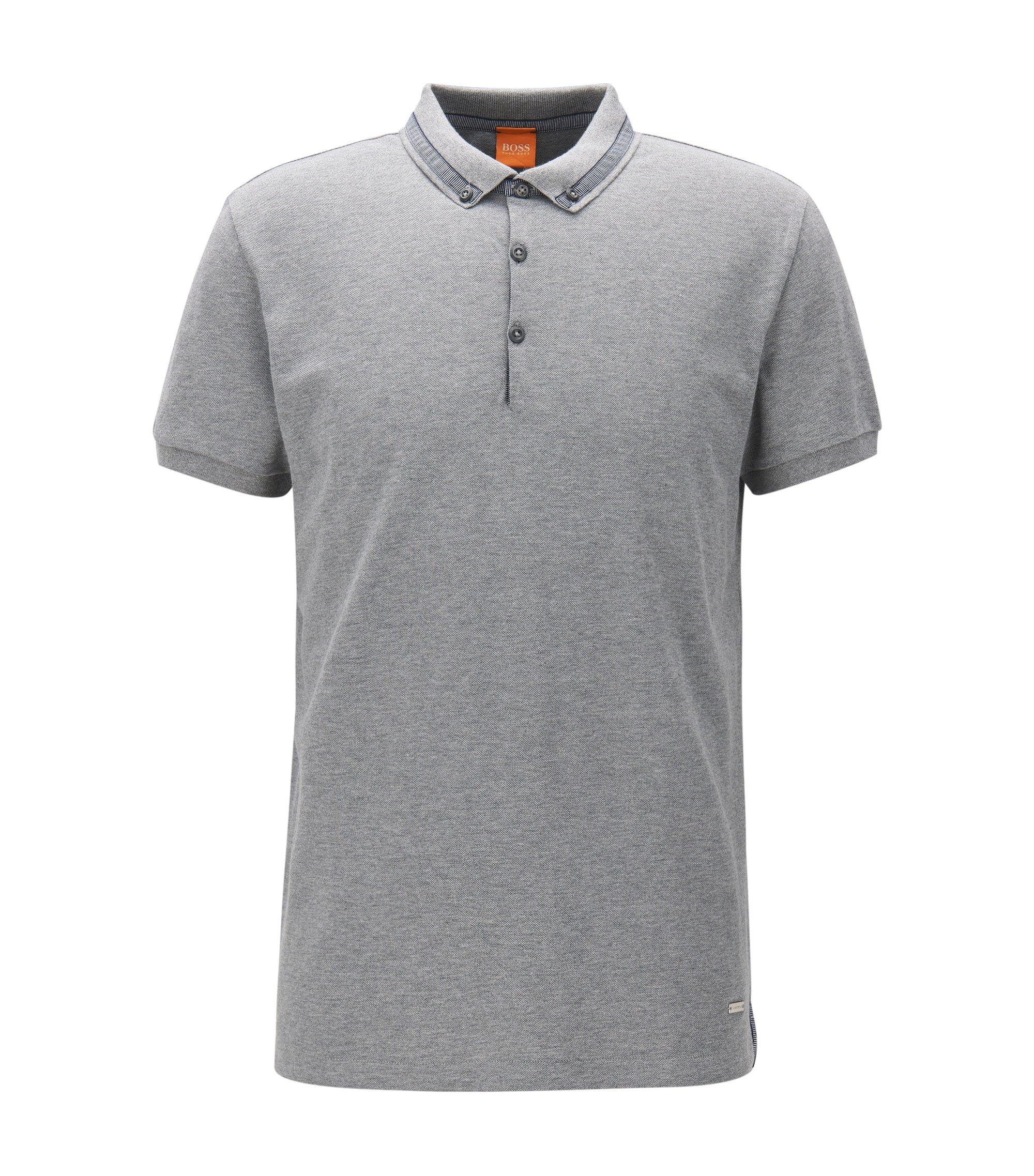Regular-Fit Poloshirt aus Baumwoll-Piqué, Hellgrau