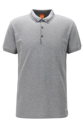 Polo regular fit en algodón de piqué, Gris claro