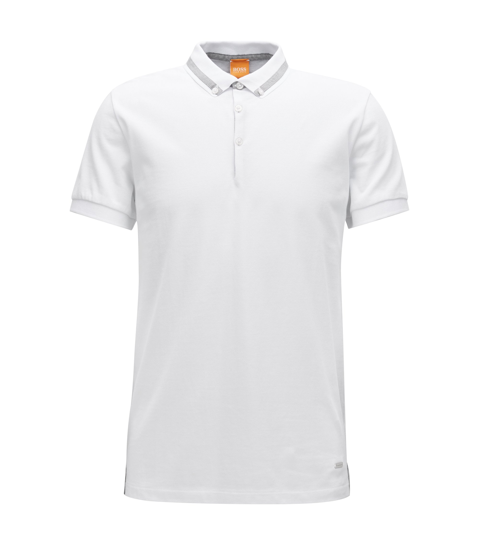 Regular-fit poloshirt in piquékatoen, Wit