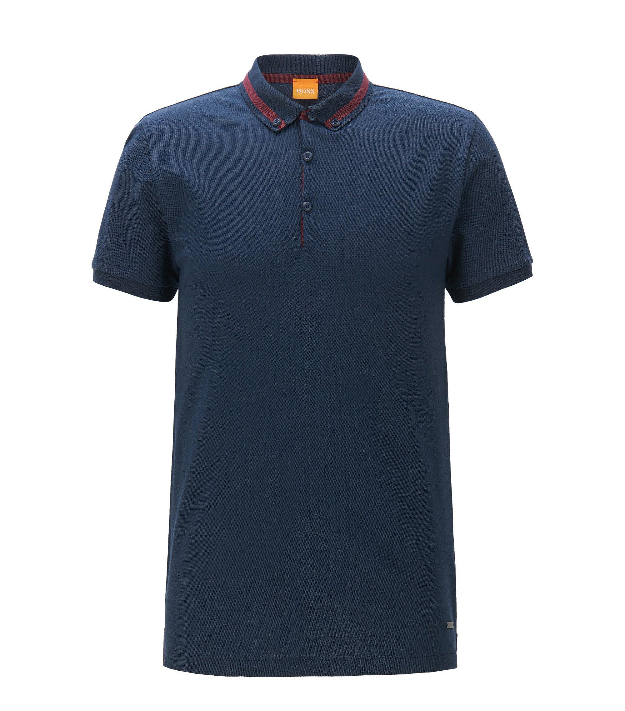Polo regular fit in piqué di cotone, Blu scuro