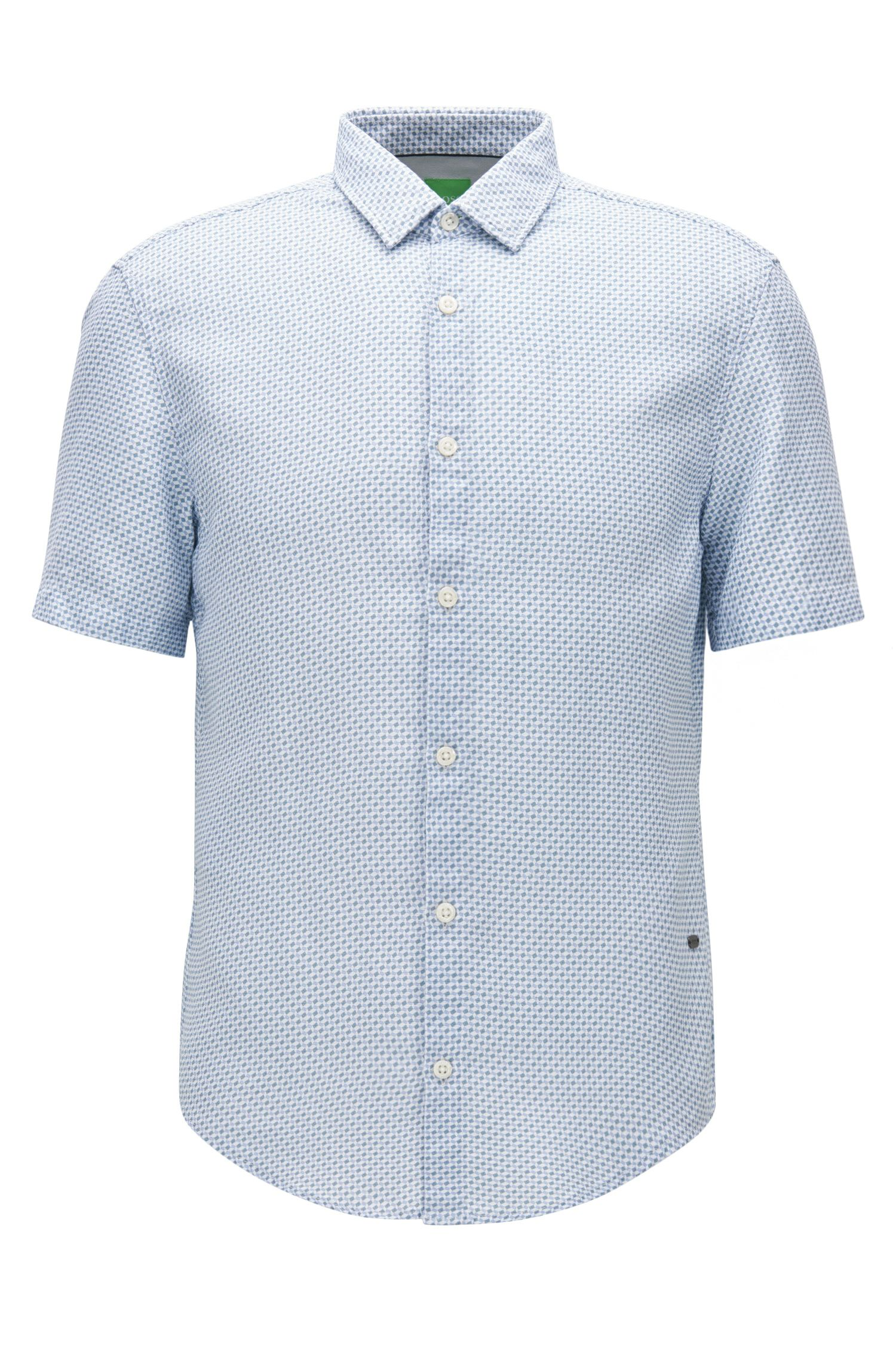 Slim-fit short-sleeved shirt in washed dobby cotton