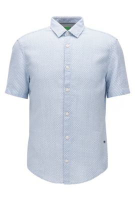 Slim-fit short-sleeved shirt in washed dobby cotton, Blue