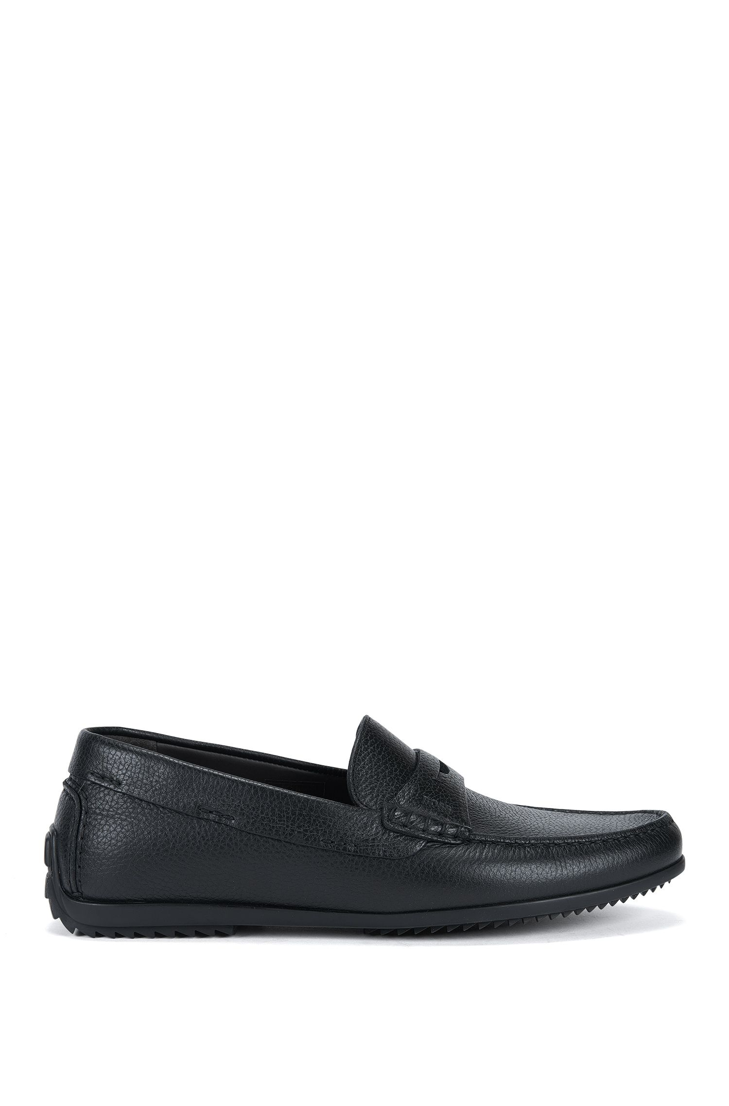 Leather moccasin shoes with driver sole