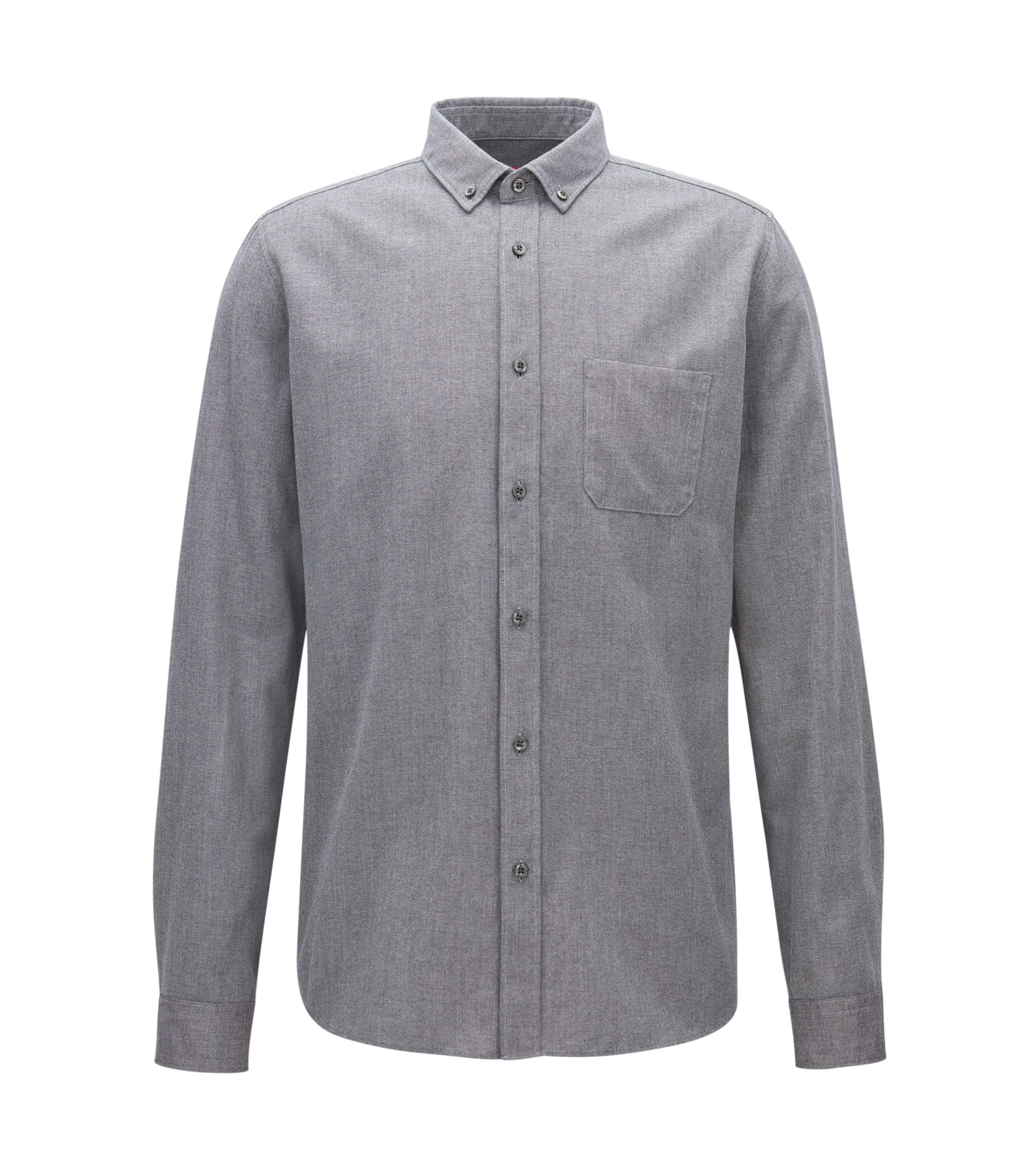 Relaxed-fit mouliné-overhemd van middelzware corduroy, Antraciet
