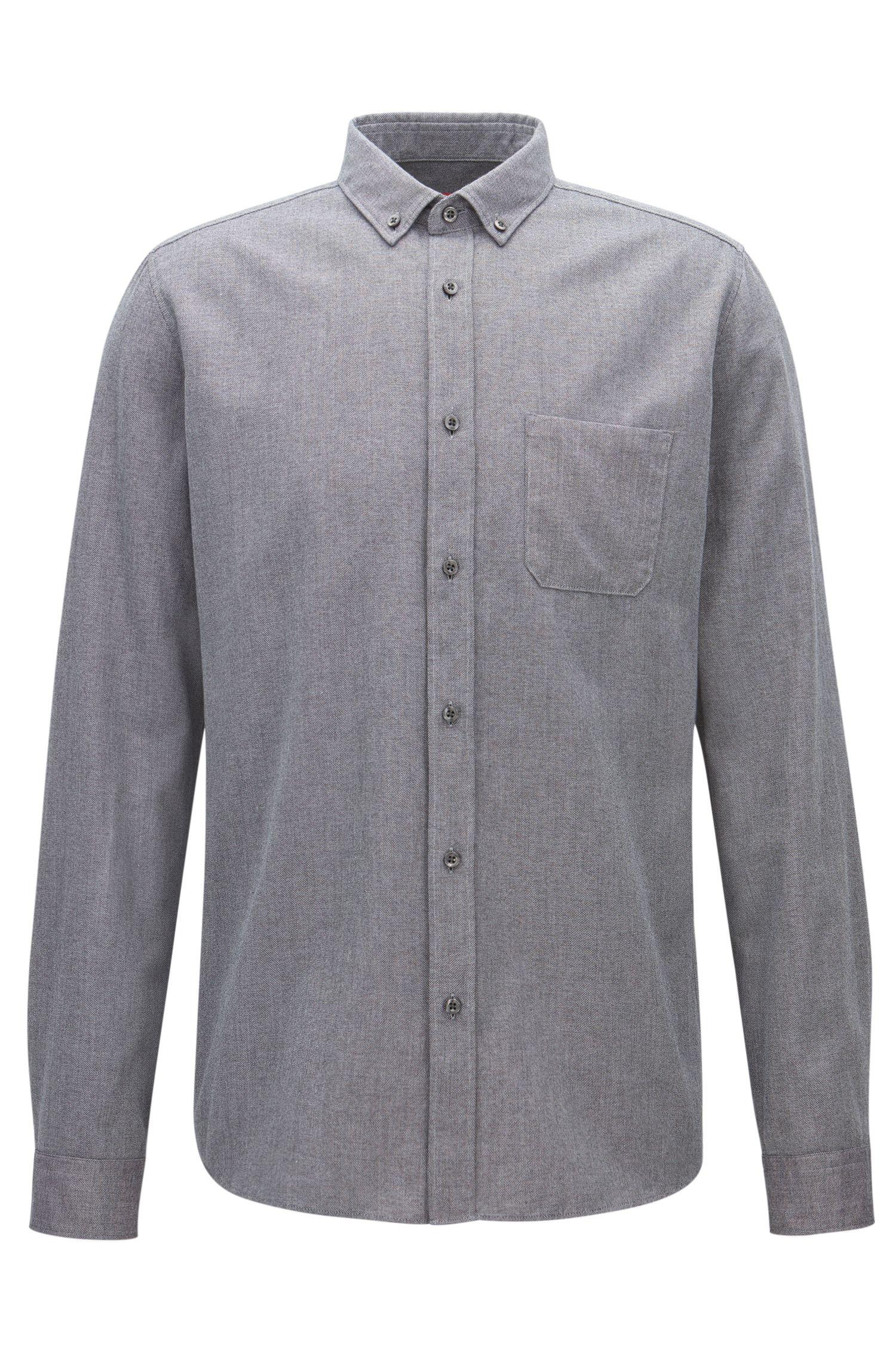 Camicia relaxed fit in velluto a coste mouliné di medio peso