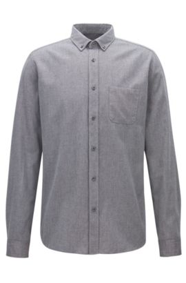 Relaxed-fit mouliné shirt in mid-weight corduroy, Anthracite