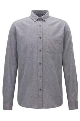 Camicia relaxed fit in velluto a coste mouliné di medio peso, Grigio antracite