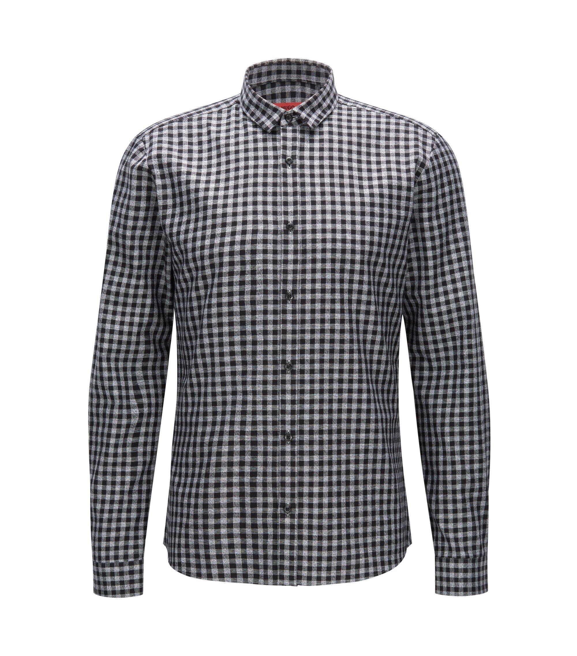 Slim-fit overhemd van corduroy met vichyruiten, Zwart
