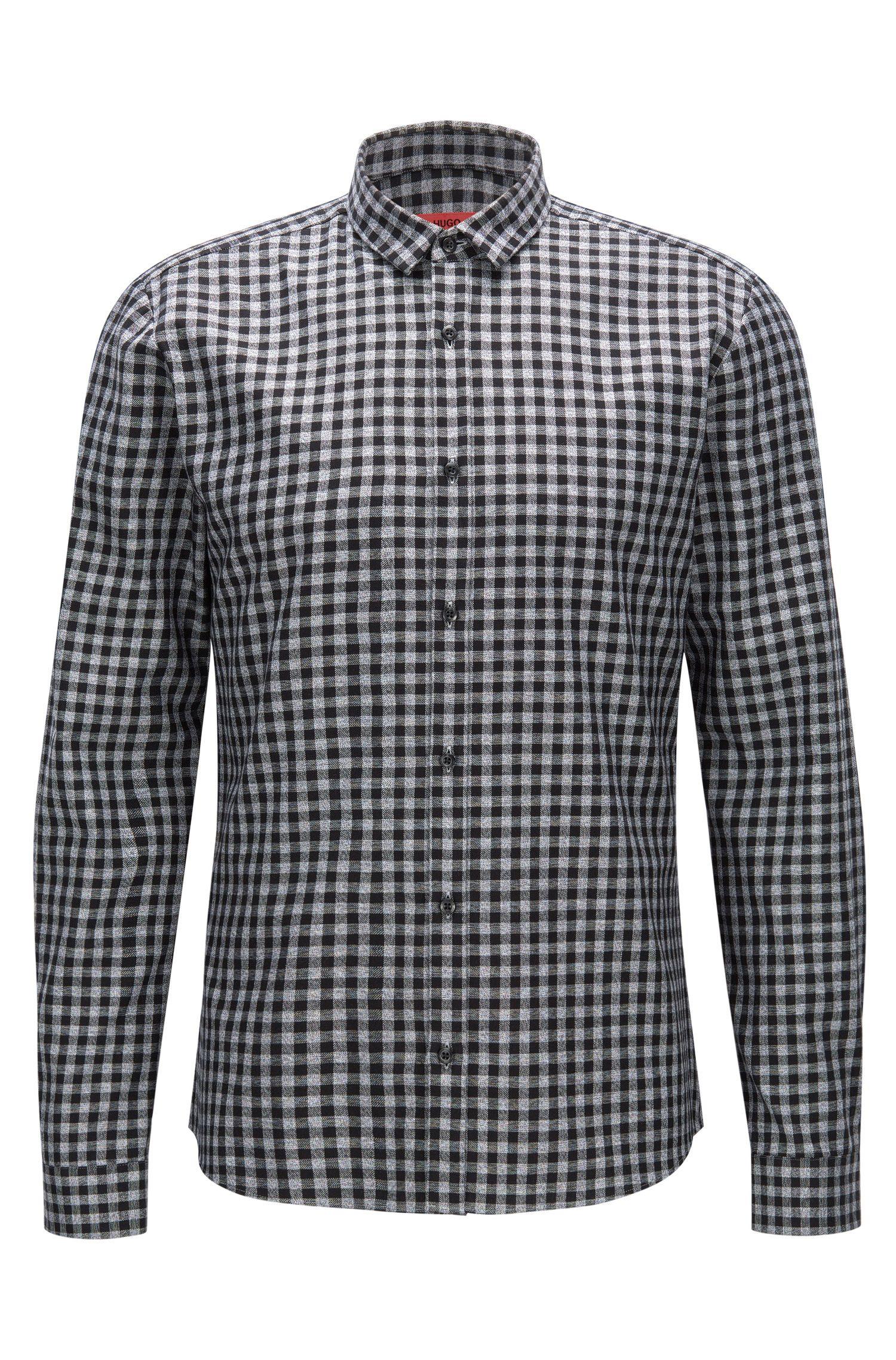 Camisa slim fit en pana con cuadros Vichy