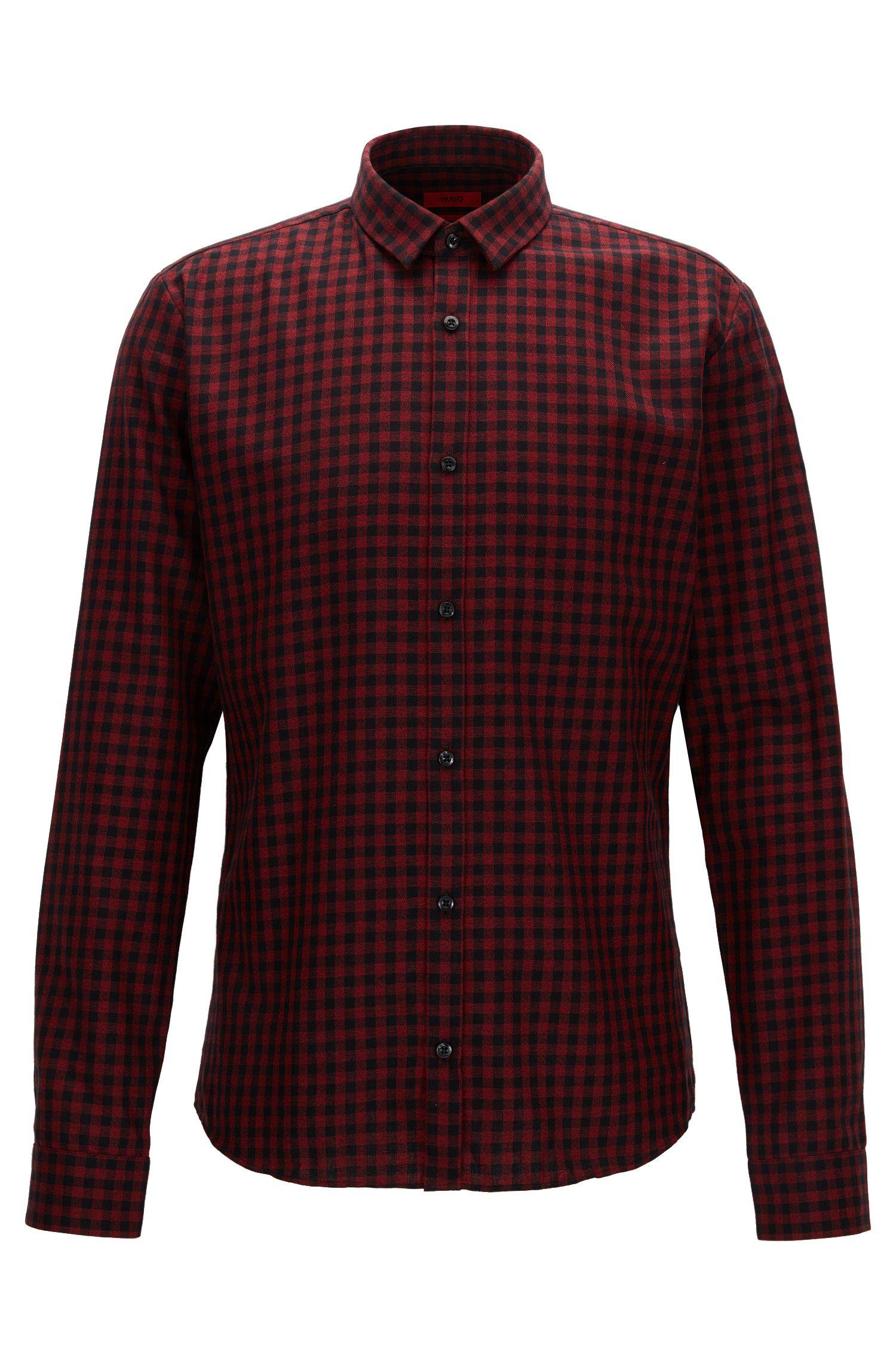 Camicia slim fit in velluto a coste a quadri Vichy