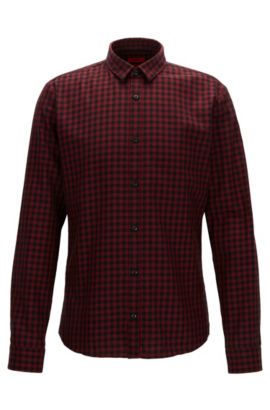 Slim-fit shirt in Vichy-check corduroy, Red