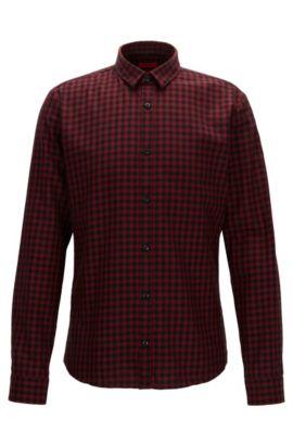 Slim-Fit Hemd aus Cord mit Vichy-Karo, Rot