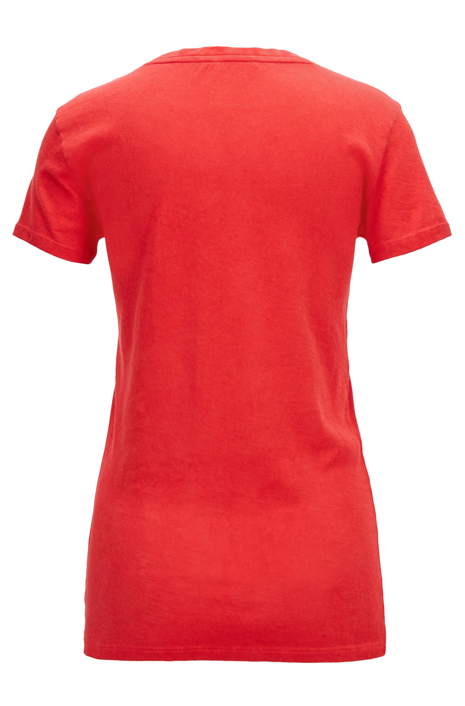 T-shirt slim fit in cotone tinto in capo