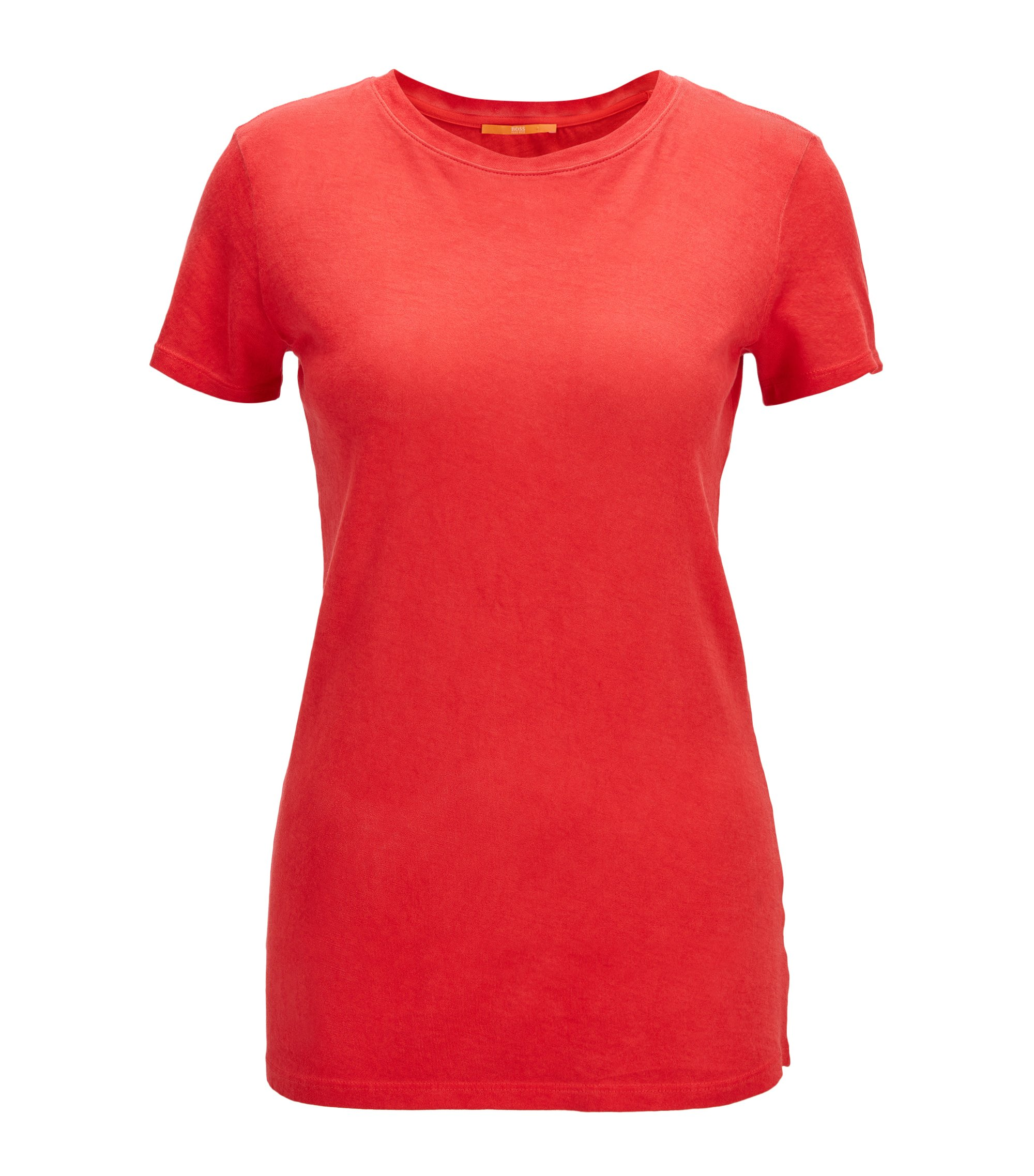 Slim-fit garment-dyed cotton T-shirt , Red