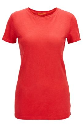 T-shirt Slim Fit en coton teint , Rouge