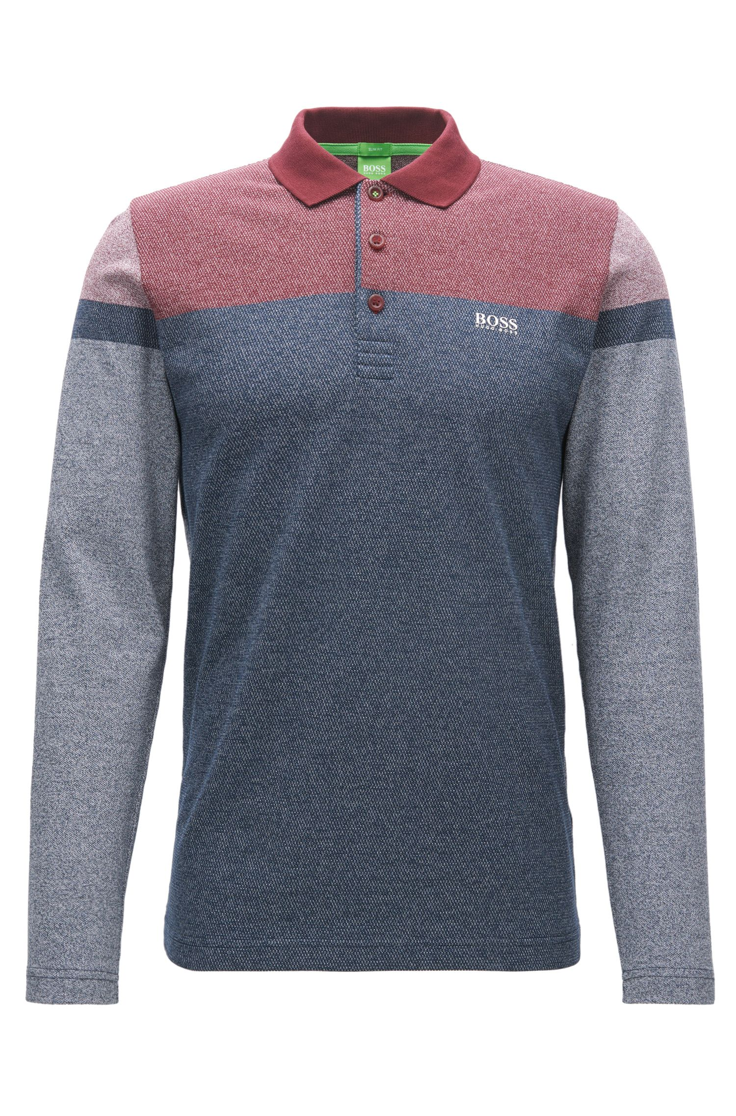 Long-sleeved slim-fit polo shirt in mouliné cotton with stripe print