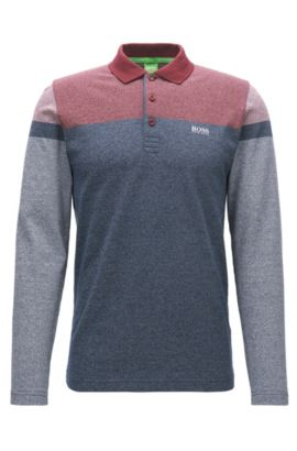 Long-sleeved slim-fit polo shirt in mouliné cotton with stripe print, Patterned