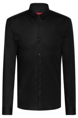 Chemise Extra Slim Fit en coton stretch, Noir