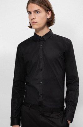 Camicia extra slim fit in cotone elasticizzato, Nero