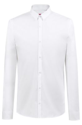 Extra Slim-fit overhemd van stretchkatoen, Wit