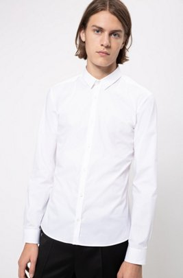 Extra-slim-fit shirt in stretch cotton, White