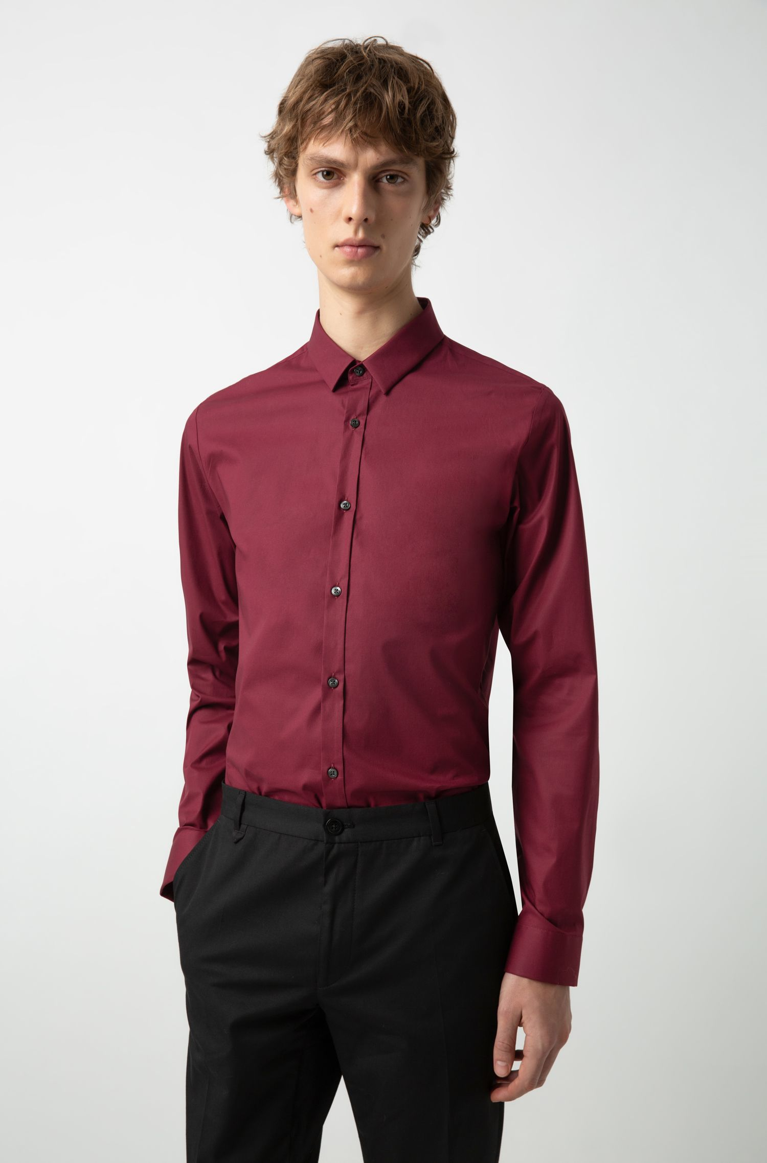 Extra-slim-fit shirt in stretch cotton, Dark Red