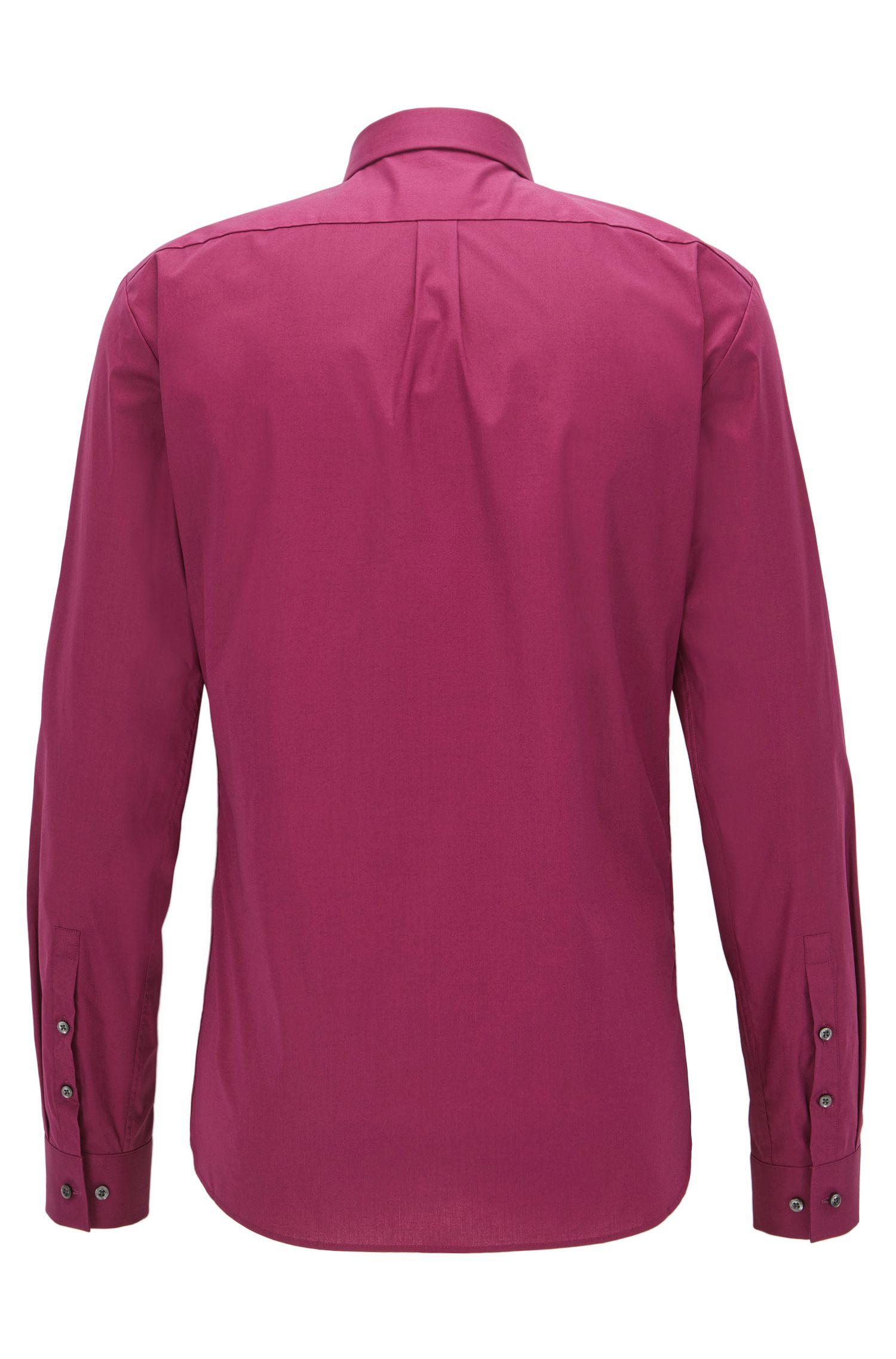 Extra-slim-fit shirt in stretch cotton, Dark pink