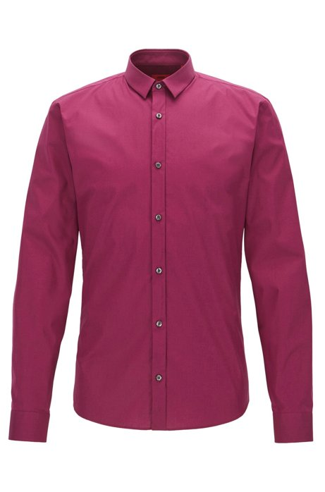 Extra-slim-fit shirt in stretch cotton, Dark pink