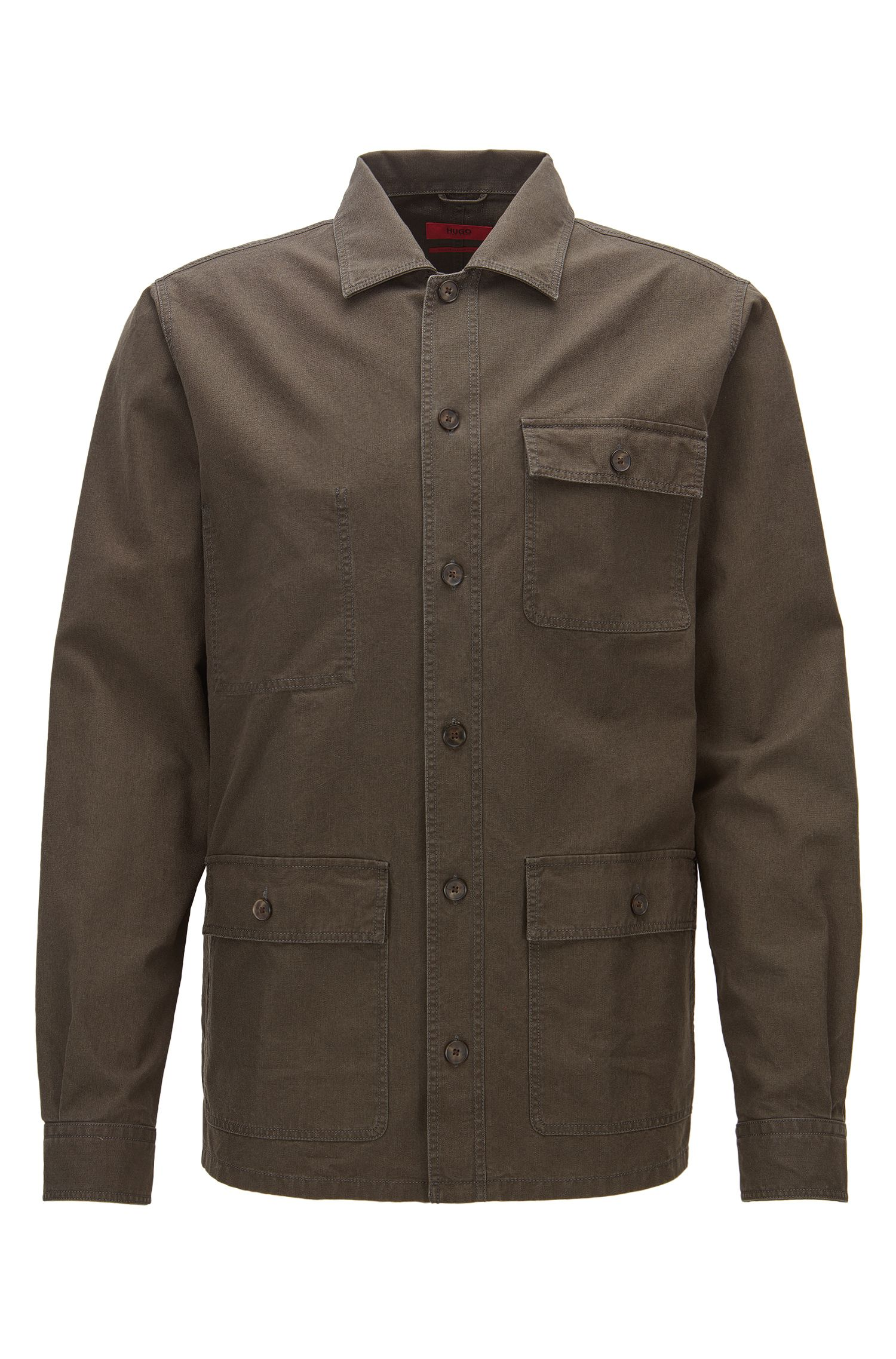 Relaxed-fit overshirt in heavyweight cotton