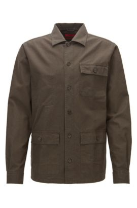 Relaxed-fit overshirt in heavyweight cotton, Dark Green