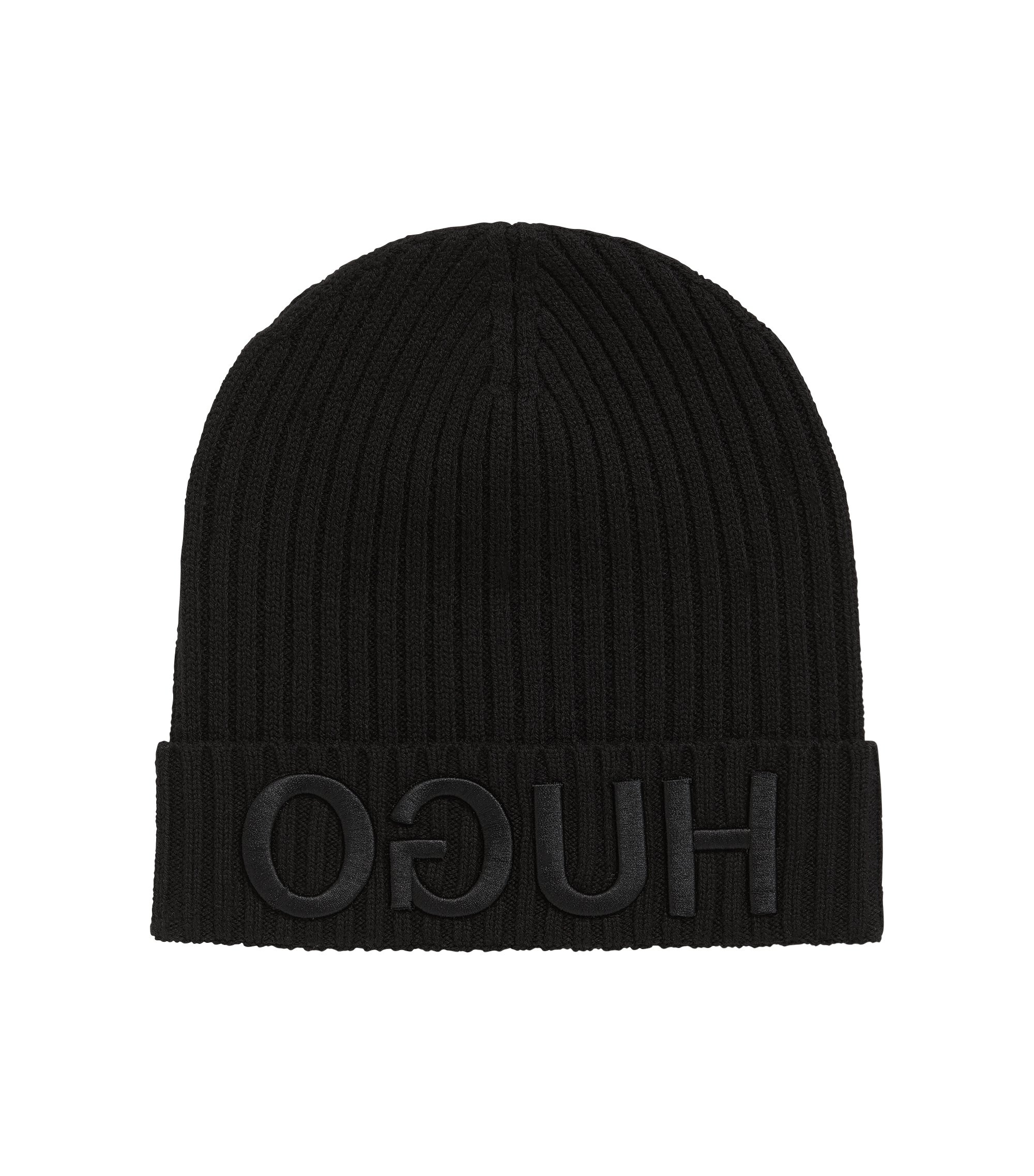 Knitted beanie with 3D reversed logo, Black