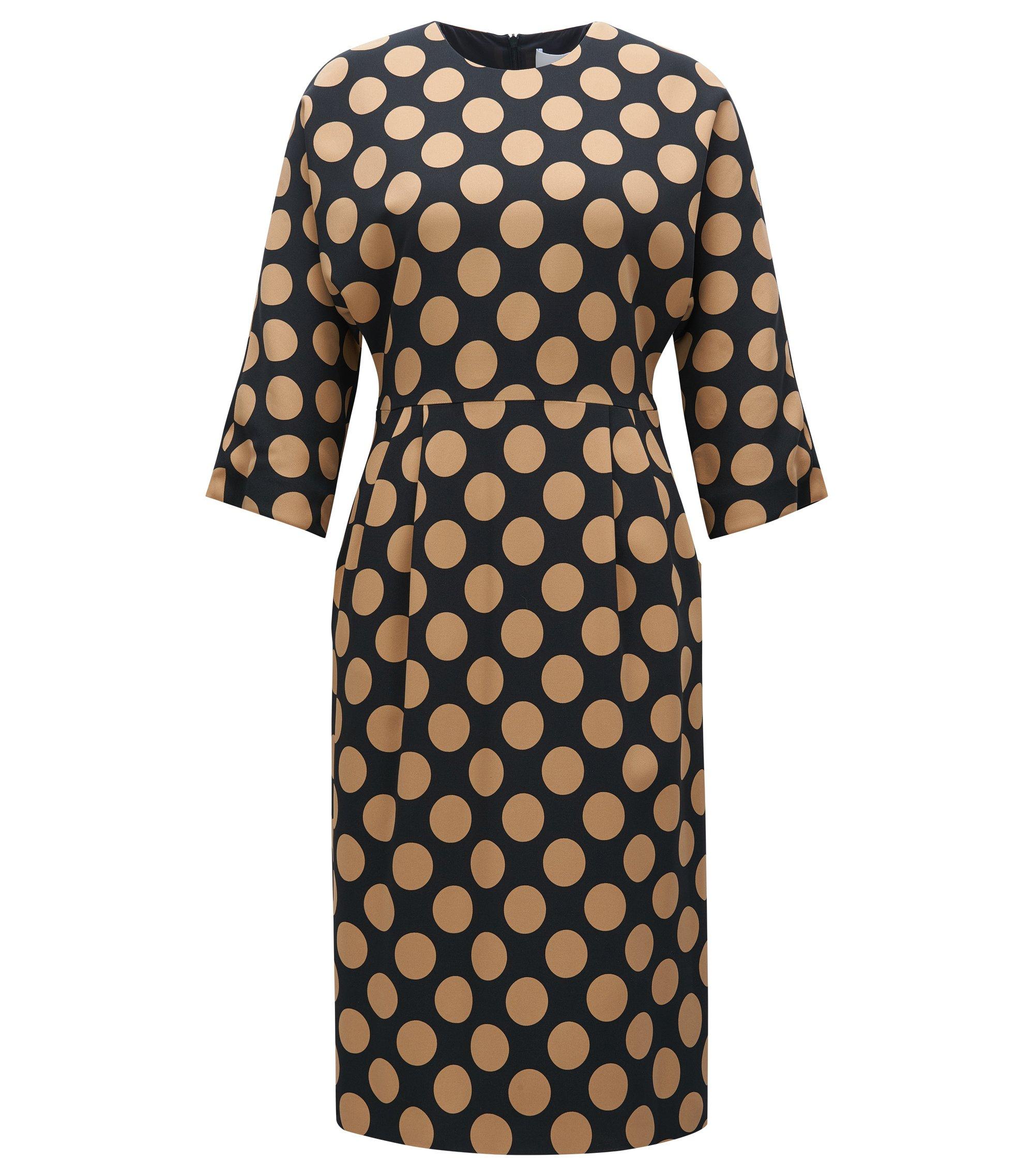 Gepunktetes Regular-Fit-Kleid aus elastischem Material-Mix, Gemustert