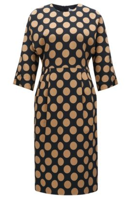 Polka-dot dress in stretch fabric, Patterned