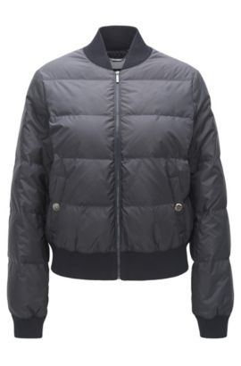 Regular-fit bomber in technical fabric, Dark Blue