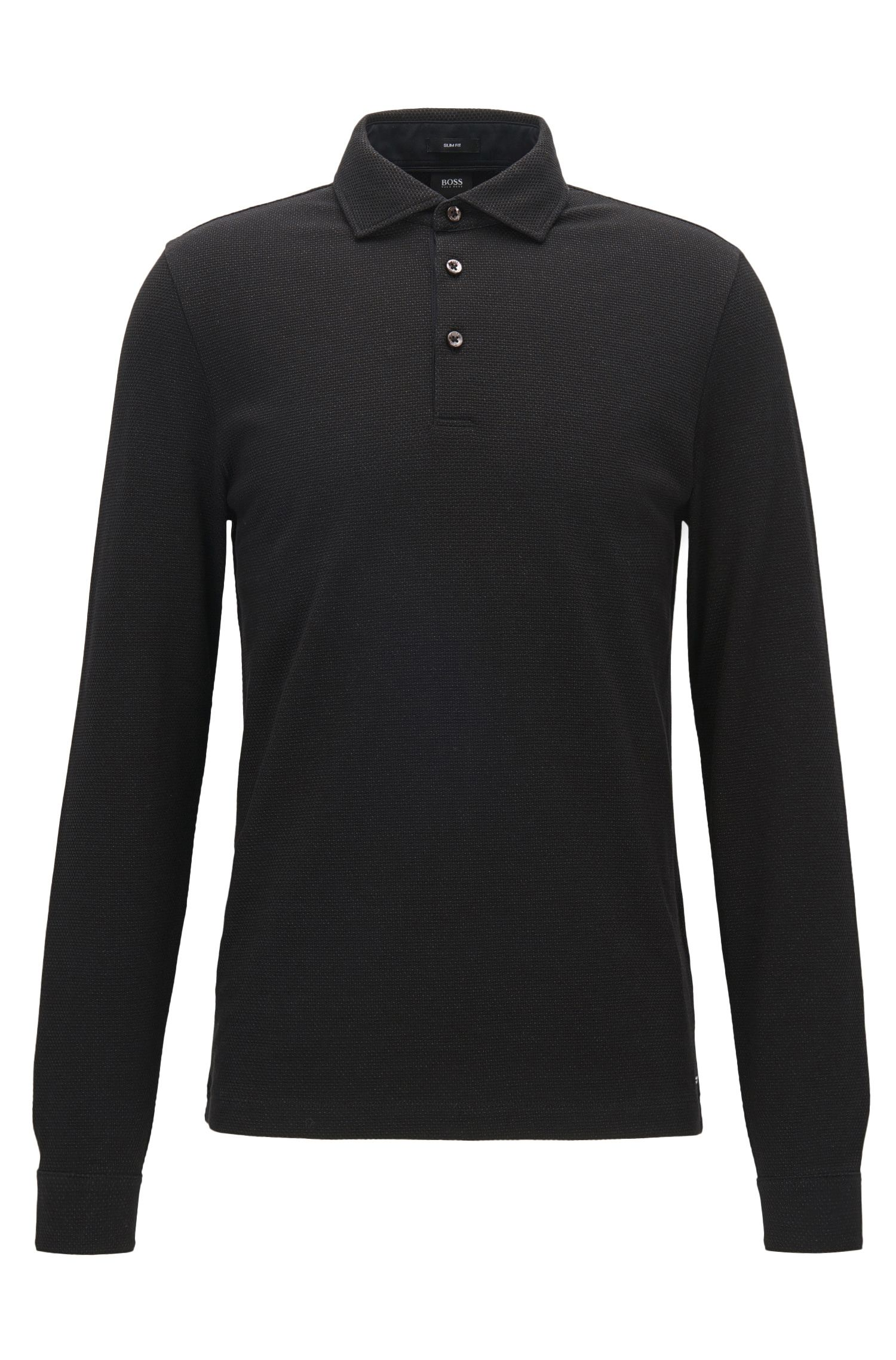 Polo jacquard Slim Fit à manches longues en coton bicolore