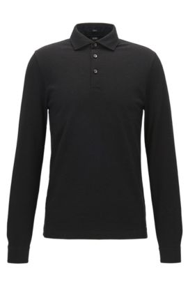 Long-sleeved two-tone cotton jacquard polo shirt in a slim fit, Black