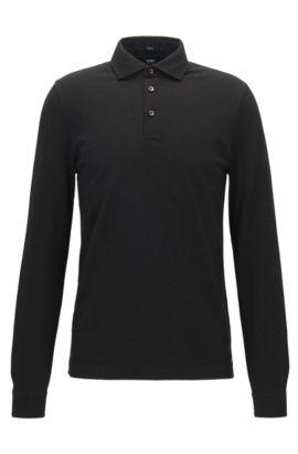 Slim-Fit Longsleeve-Poloshirt aus zweifarbigem Baumwoll-Jacquard, Schwarz