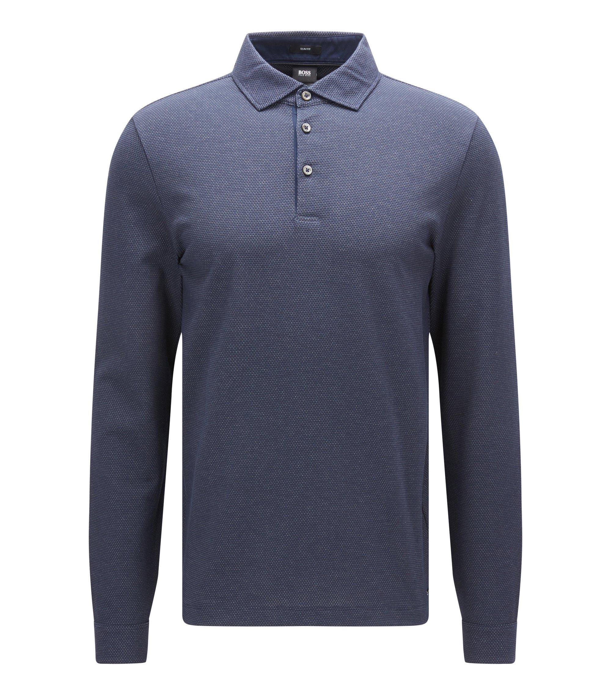 Polo slim fit a maniche lunghe in cotone jacquard bicolore, Blu scuro