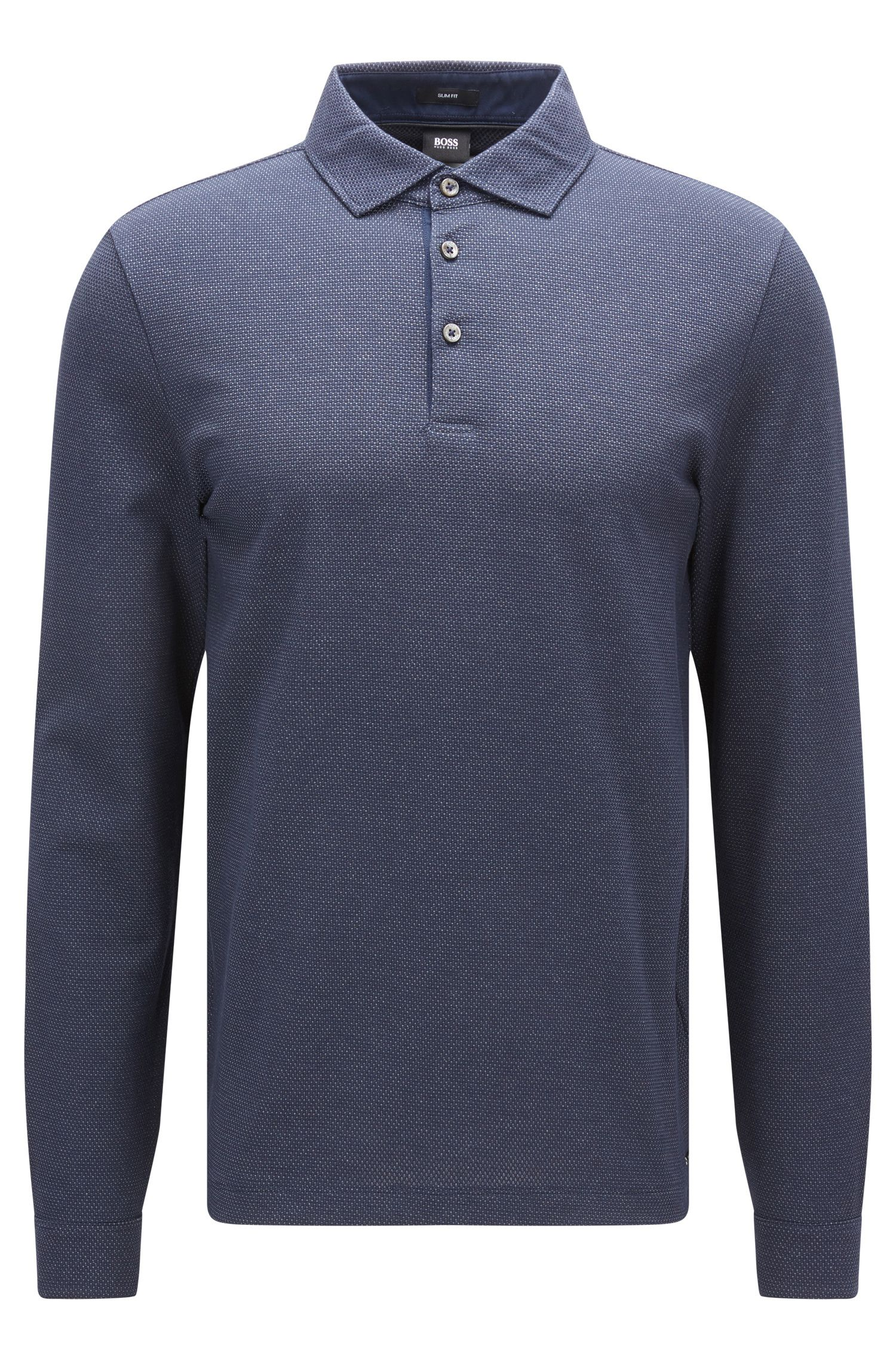 Long-sleeved two-tone cotton jacquard polo shirt in a slim fit