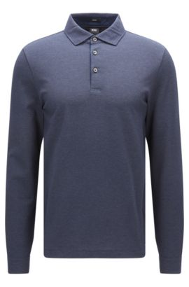 Long-sleeved two-tone cotton jacquard polo shirt in a slim fit, Dark Blue