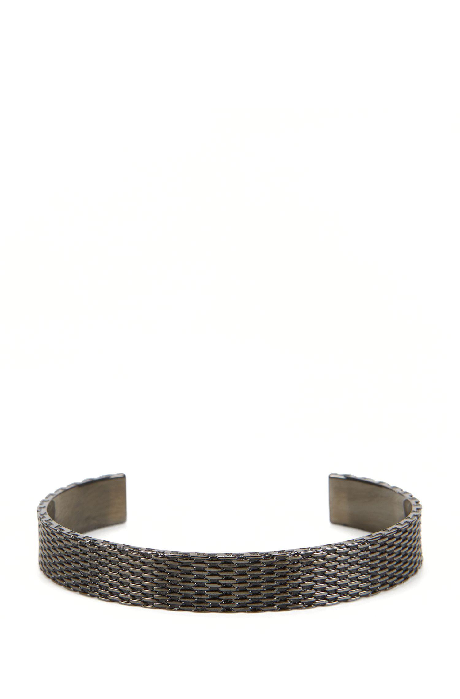Bracelet jonc en métal poli façon maille milanaise