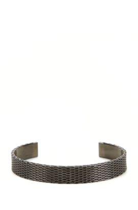 Bracelet jonc en métal poli façon maille milanaise , Gris sombre