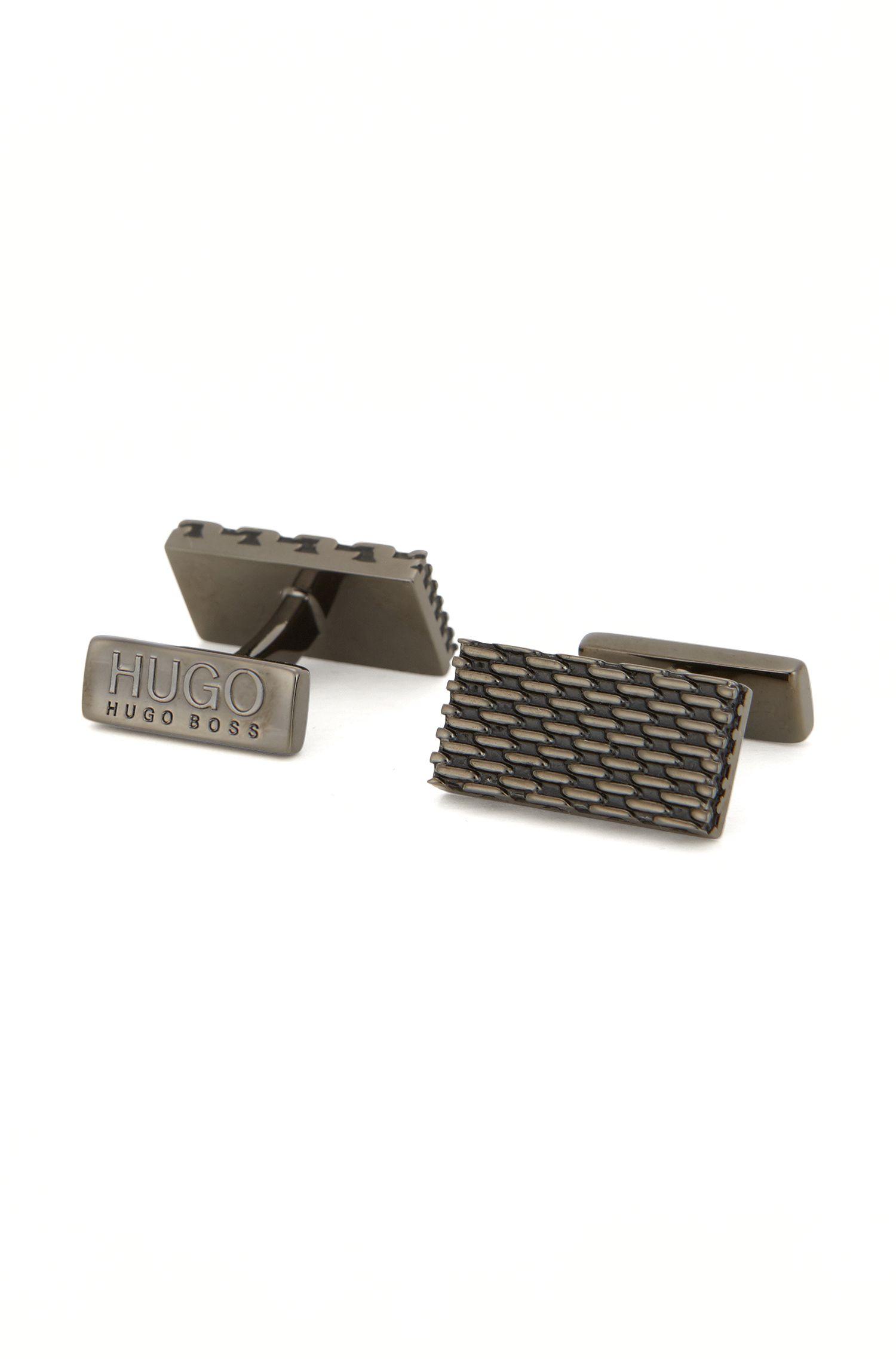 Gemelos rectangulares de metal pulido estilo milanés