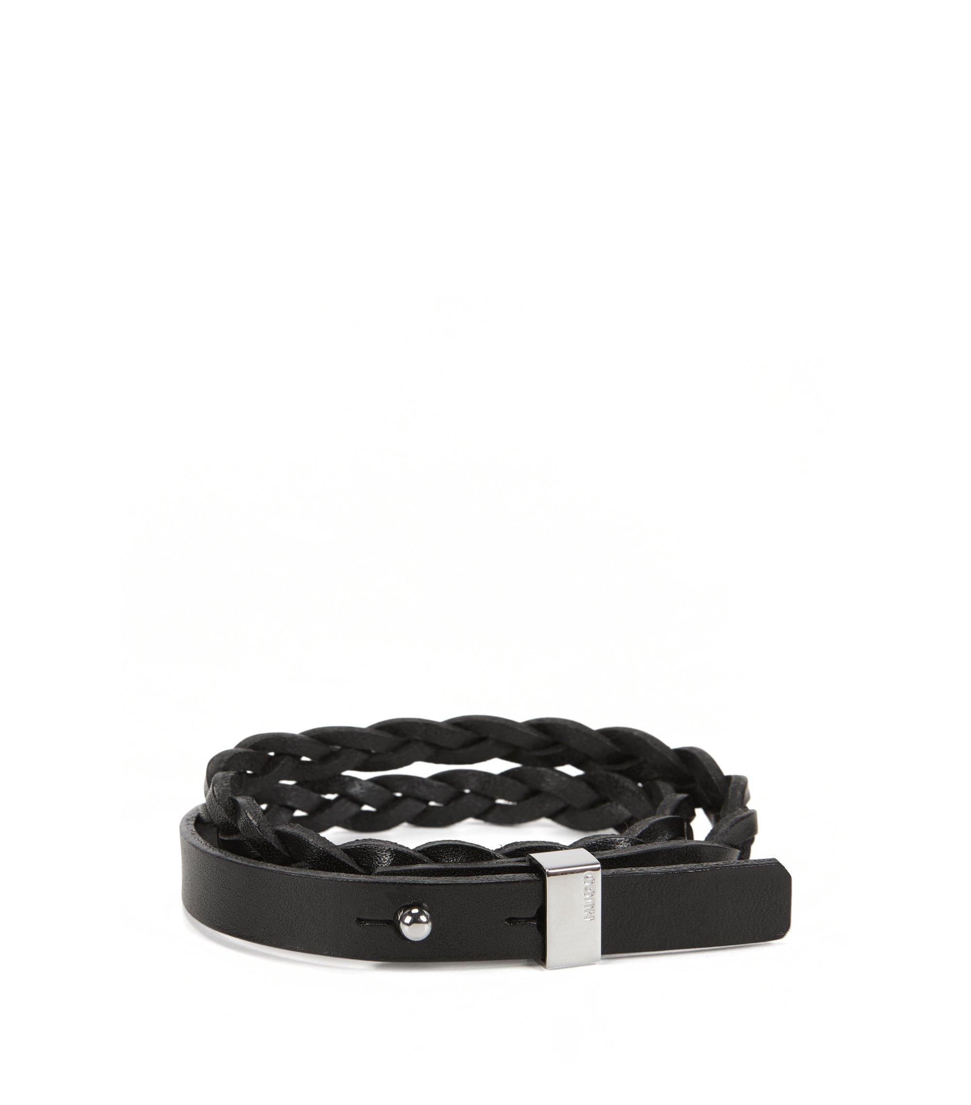 Geflochtenes Armband aus Leder, Schwarz