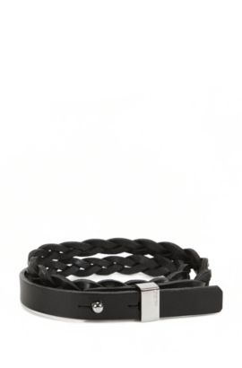 Double-wrap plaited bracelet in leather, Black