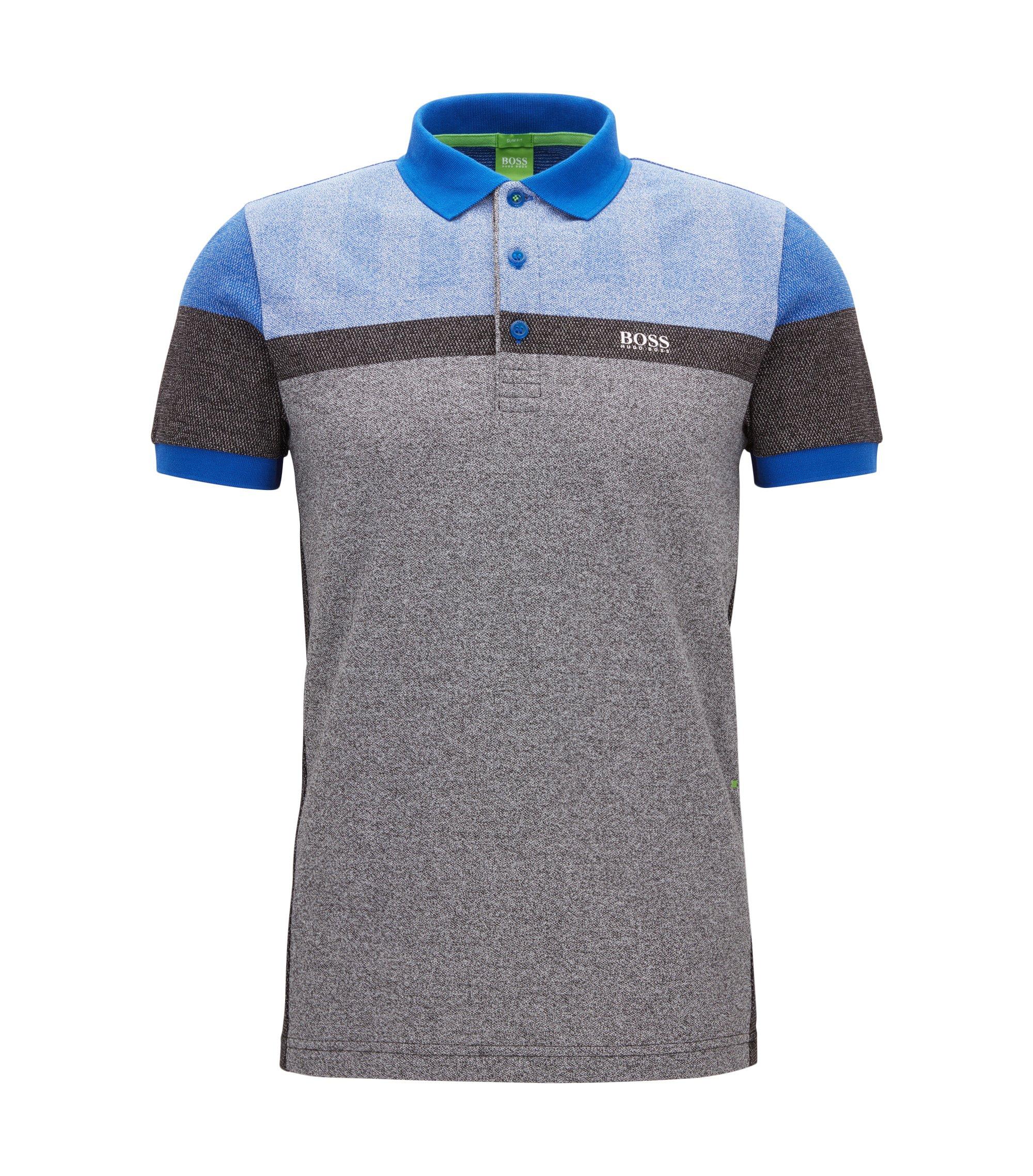 Slim-Fit Poloshirt aus meliertem Piqué, Schwarz