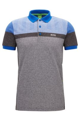 Slim-fit polo shirt in mélange piqué, Black